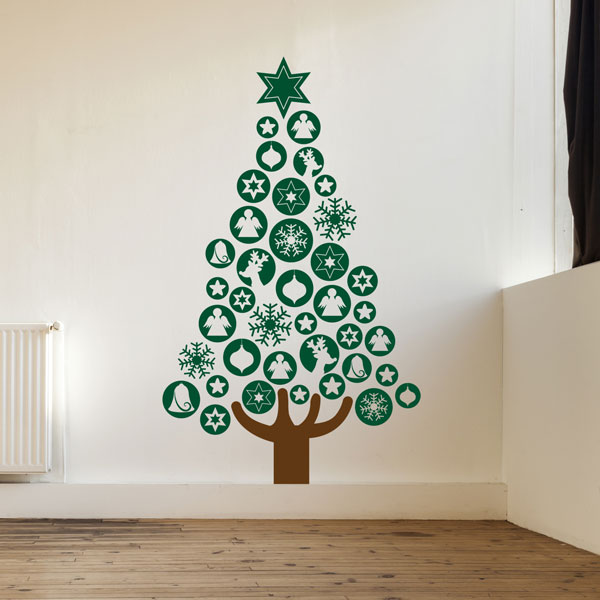 Awesome Lovely Christmas Tree Sticker Wall Part   3: Baubles Christmas Tree Part 15