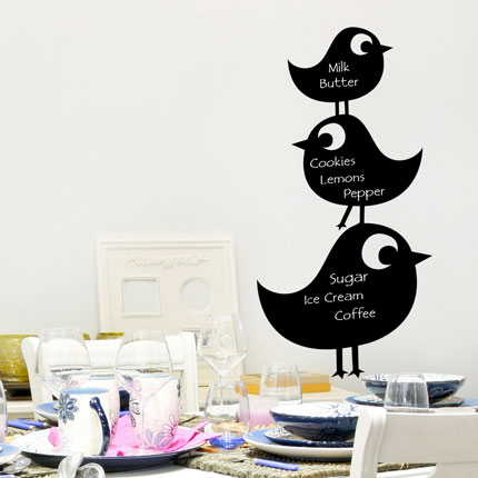Reusable Chalkboard Birds Wall Decal