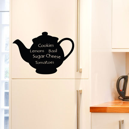 Reusable Chalkboard Teapot Wall Decal