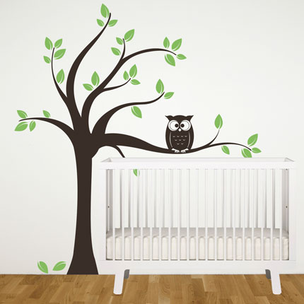 Tree with Owl Wall Decal