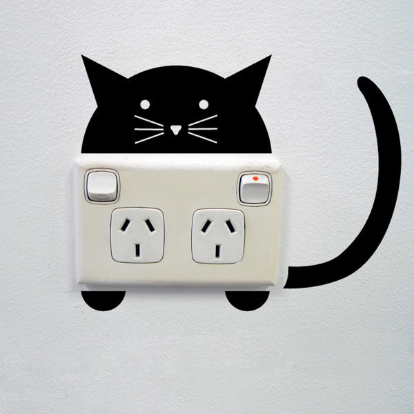cat wall sticker for sockets - mini stickers - wall decals