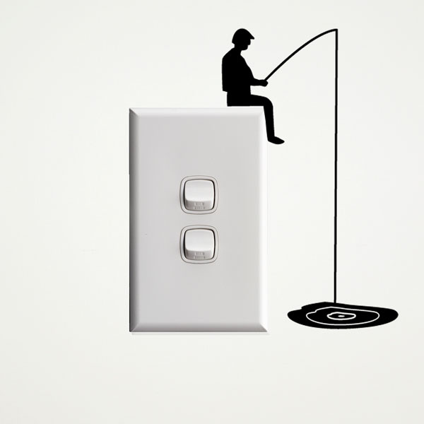 Fisherman Wall Sticker for Light Switches