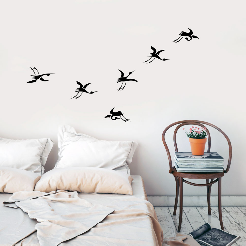 Japanese Cranes Wall Decal Animals Wall Decals - Japanese wall decals