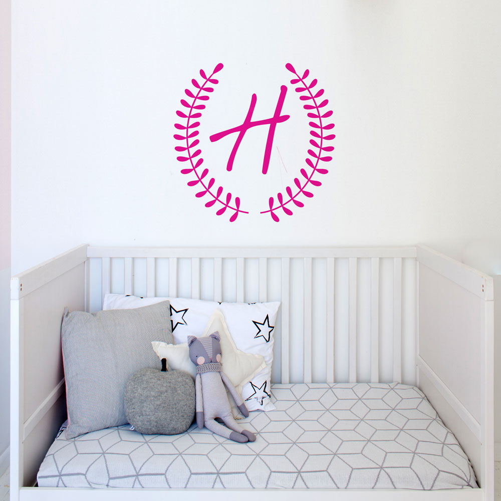 Monogram Wreath Wall Decal