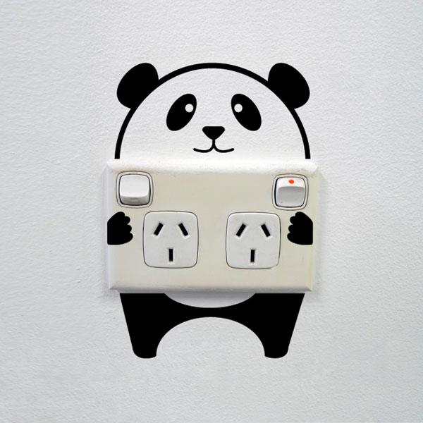 mini stickers panda wall sticker for sockets wall decals a panda family loves kids wall sticker