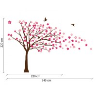 Blowing Tree with Flowers Wall Decal Image 1