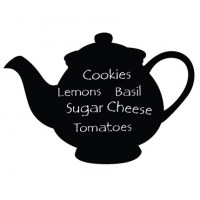 Reusable Chalkboard Teapot Wall Decal Image 1