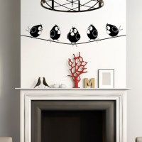 Five Birds on Wire Wall Decal Image 0