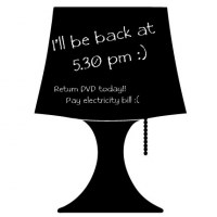 Reusable Chalkboard Lamp Wall Decal Image 1