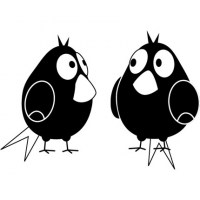 Two Fatty Birds Wall Decal Image 1