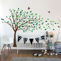 Blowing Tree Wall Decal Image 0