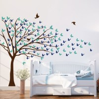 Butterflies Blowing Tree Wall Decal Image 0