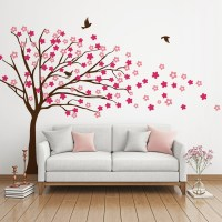 Blowing Tree with Flowers Wall Decal Image 0