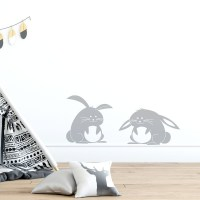 Fluffy Bunnies Wall Decal in Grey