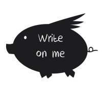 Reusable Chalkboard Pig Wall Decal Image 1