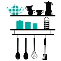 Kitchen Shelves Wall Decal Image 1