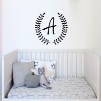 Monogram Wreath Wall Decal Image 1