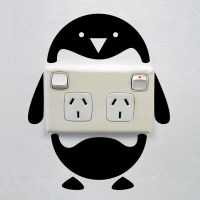 Penguin wall sticker for power sockets