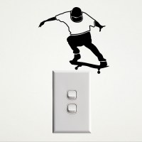 Skateboarder Wall Sticker for Sockets Image 1