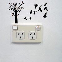 Tree and birds wall sticker for power sockets