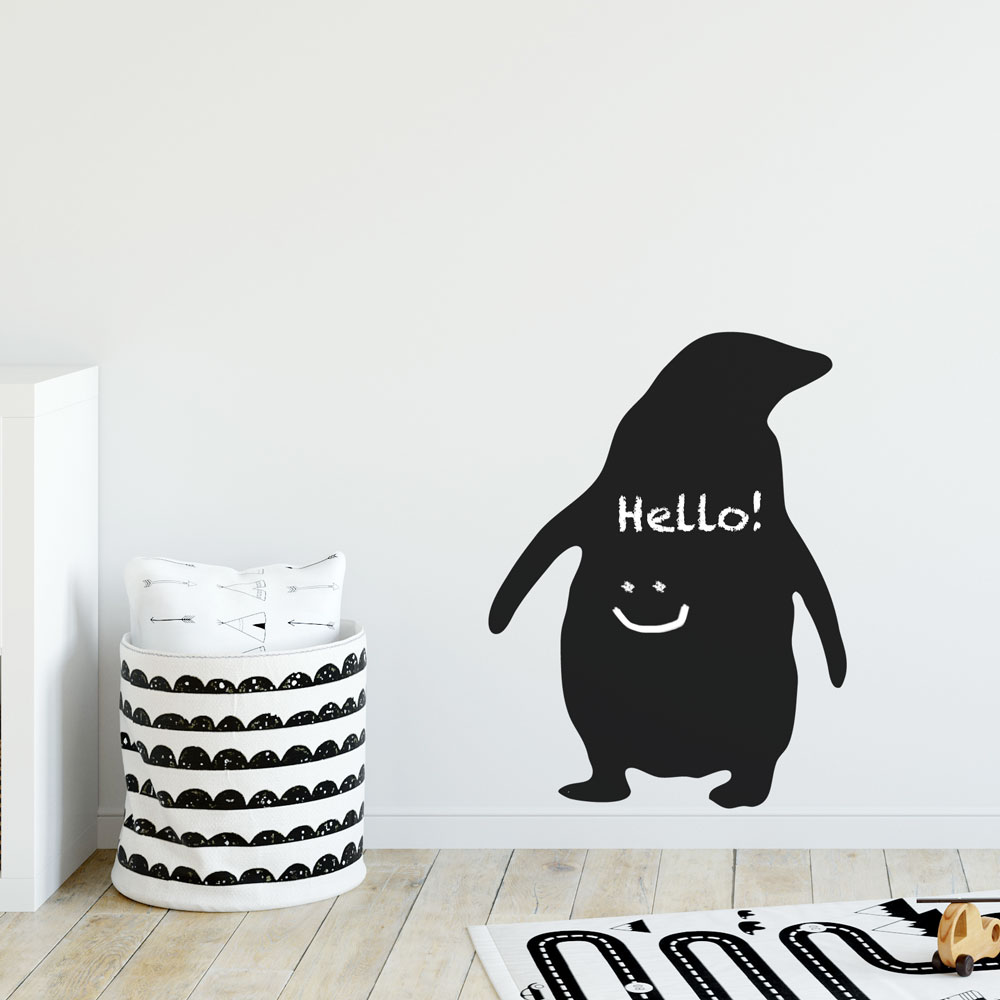 Reusable Chalkboard Penguin Wall Decal