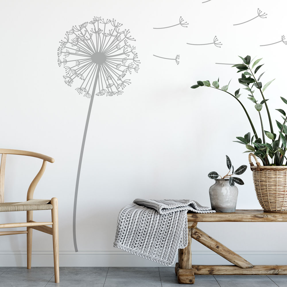 Dandelion Wall Decal in Grey