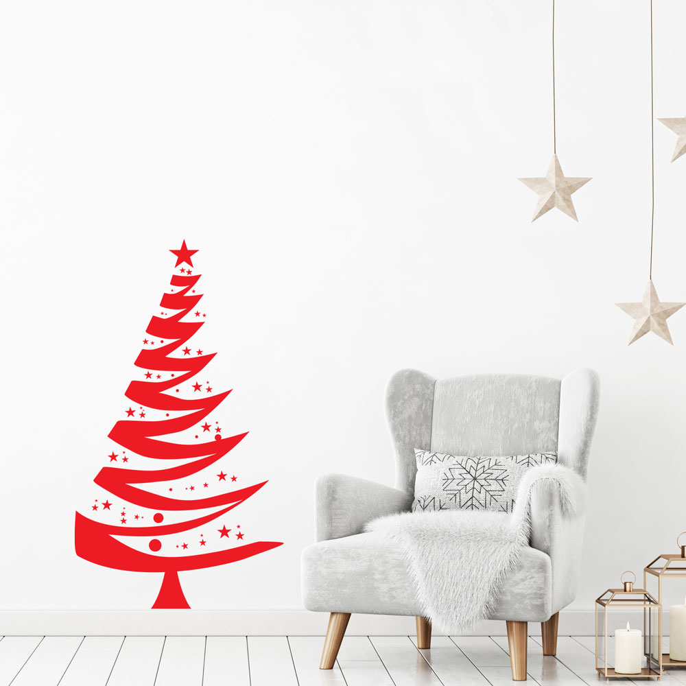 Christmas Tree Wall Decal in Red
