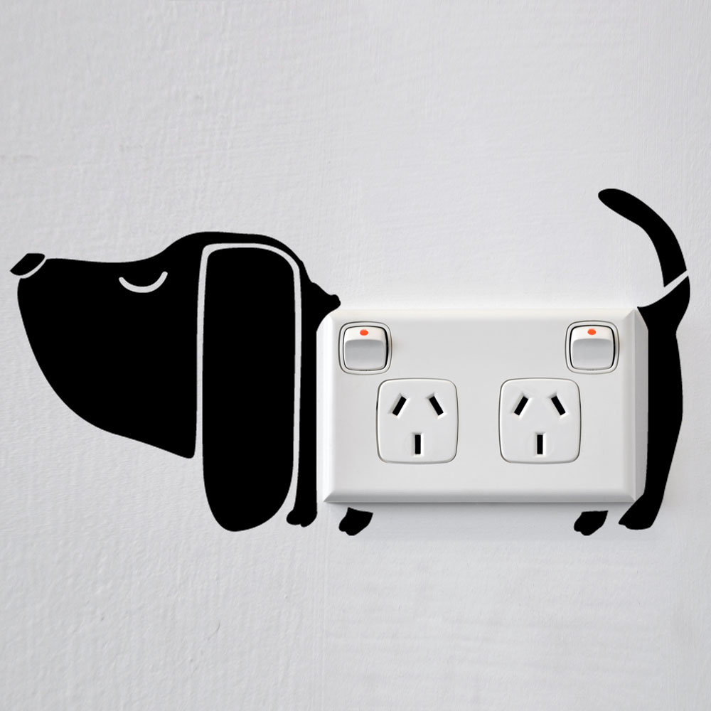 Dog wall sticker for power sockets