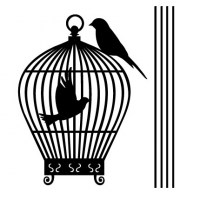 Single Birdcage Wall Decal Comp