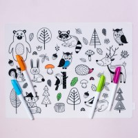 Colouring In Silicone Placemat with Forest Animals