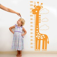 Giraffe Height Chart Wall Decal Orange