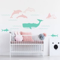 Sea Animals Wall Decal in Mint and Light Pink