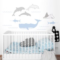 Sea Animals Wall Decal in Powder blue and Grey