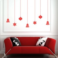 Christmas Baubles Wall Decal Red