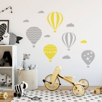 Air Balloons Wall Decal Grey and Yellow