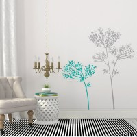 Anise Flowers Wall Decal Grey and Teal