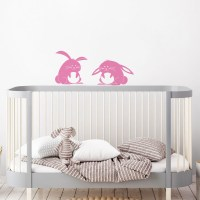 Fluffy Bunnies Wall Decal in Pink