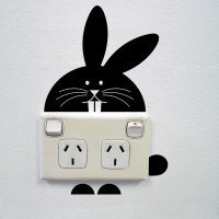 Bunny wall sticker for power sockets