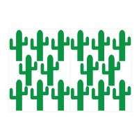 Cactus pattern wall decal sheet