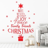 Christmas Tree with Words Wall Decal
