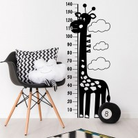 Giraffe Height Chart Wall Decal Black