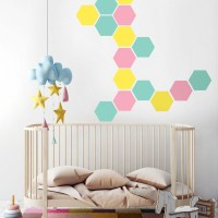 Honeycomb wall decal mint pink and yellow
