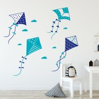 Kites Wall Decal in Dark blue and Teal