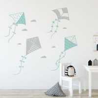 Kites Wall Decal in Grey and Mint