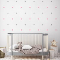Mini Dots Wall Decal Grey and Pink