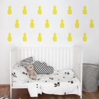 Pineapples wall decal in yellow