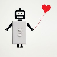 Robot wall sticker for light switches