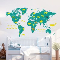 World Map with Animals Wall Decal Teal and Yellow