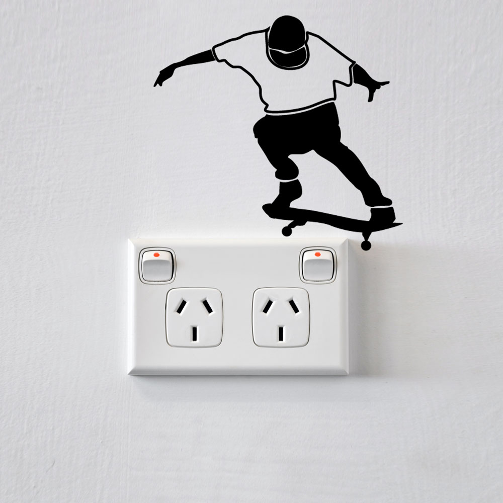 Skateboarder wall sticker for power points and light switches