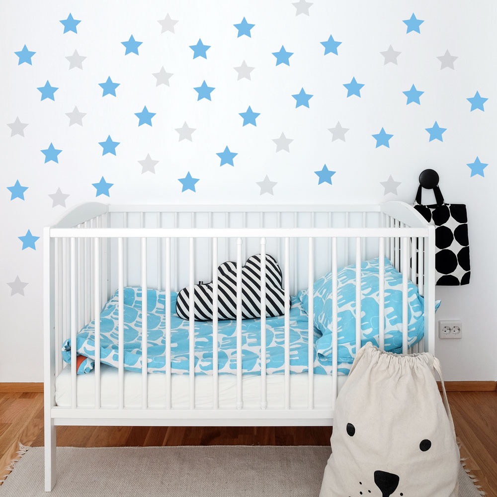 Kids Stars Wall Decal Light Blue and Grey